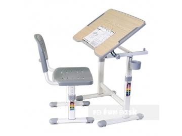 regulowane biurko z krzese kie piccolino ii grey
