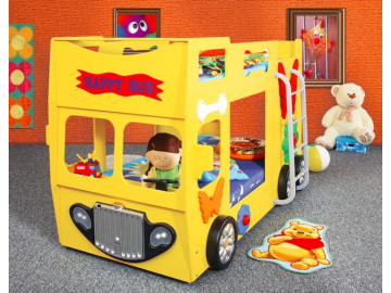 Detská poschodová posteľ Happy Bus žltý