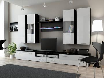 Obývacia stena Dream II čierna-biely lesk
