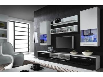 Obývacia stena Luna biela-biela/čierna