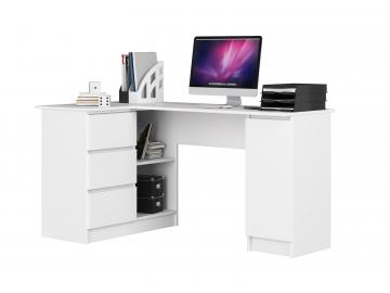 rohový biely prísací stolík Clips B20 ľave