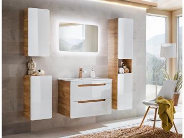 Kúpeľňový komplet ARUBA White | dub craft zlatý/biely lesk