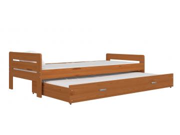 moderna detska hneda postel BEN so zasuvkou jelsa detail