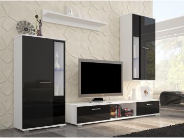 Obývacia izba SAFIR biely mat/čierny lesk