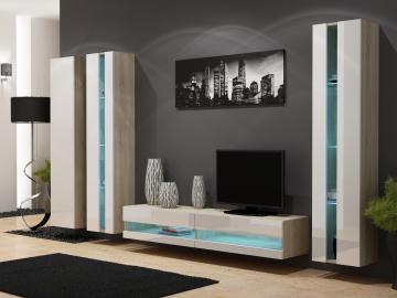 Obývacia stena VIGO NEW 6 dub sonoma/biely lesk