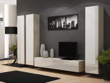 Obývacia stena Vigo 1 dub sonoma/biely lesk