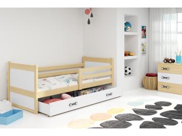 moderna detska jednolozkova postel s uloznym priestorom RICO BOROVICA BIELA