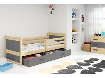 moderna detska jednolozkova postel s uloznym priestorom RICO BOROVICA SIVA