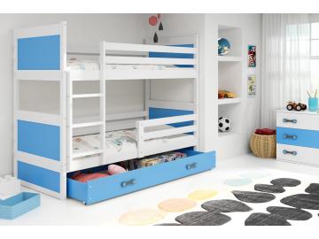 detska poschodova postel s uloznym priestorom RICO BIELA MODRA