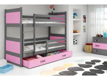 Detská poschodová posteľ Rico ružová