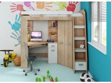 Detská rohová vyvýšená posteľ ANTRESOLA sonoma/biela