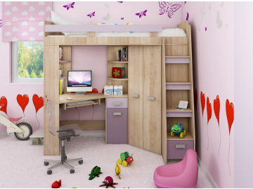 Detská rohová vyvýšená posteľ ANTRESOLA sonoma/fialová