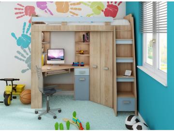 Detská rohová vyvýšená posteľ ANTRESOLA sonoma/modrá
