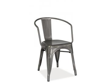 Kovová jedálenská stolička ALVA / brúsená oceľ