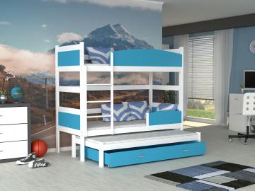 detska pochodiova postel TWIST 3 biela modra