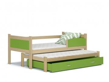 detska postel s pristelkou TWIST P2 borovica zelena