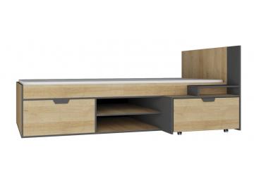 moderna jednolozkova postel NANO NA13 LP grafit dub riviera
