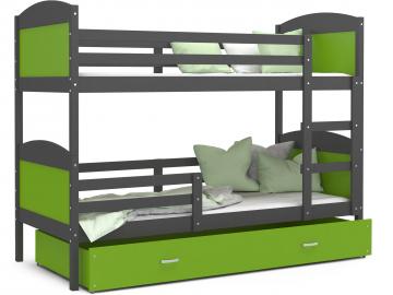 poschodova postel MATEUSZ siva zelena