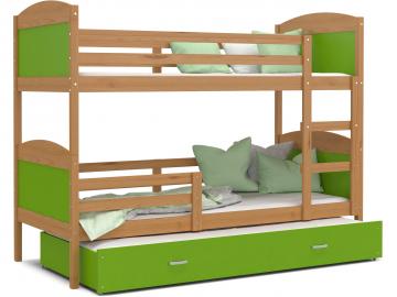 moderna poschodova postel s pristelkou MATEUSZ 3 jelsa so zelenou