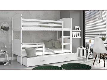 moderna poschodova postel s pristelkou MATEUSZ 3 biela biela