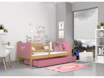 moderna jednolozkova detska postel s uloznym priestorom ,MAX P borovica dekor ruzova