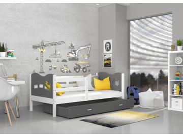 moderna jednolozkova detska postel s uloznym priestorom ,MAX P biela dekor siva