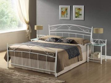moderna biela kovova manzelska postel SIENA 140 x 200 biela