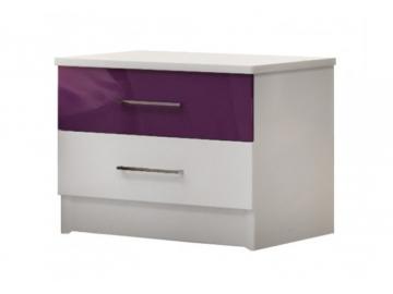 nocny stolik DUBAJ biela fialovy lesk