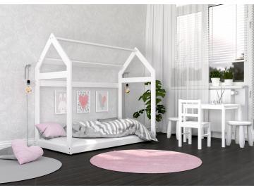 MONTESSORI detska postel DOMCEK drevena biela