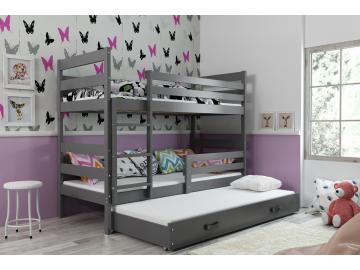 detská poschodová posteľ Eryk s prístelkou grafit