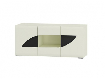 moderny TV stolik BRYZA RTV BRTV 2C biely mat biely lesk cierny uchyt