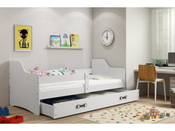 moderna detska jednolozkova postel s uloznym priestorom SOFIX BIELA BIELA