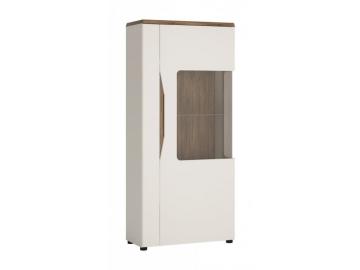 moderna biela leskla vitrina TOLEDO 1D TYP TOLV02P prave prevedenie