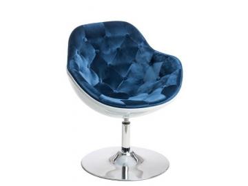 moderne otocne relaxacne kreslo PEZZO VELVET korpus biely sedenie presivane modra latka