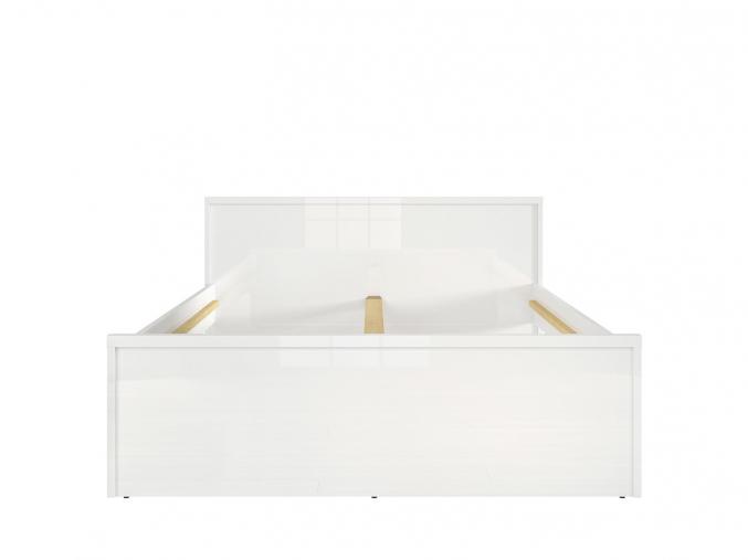 140 moderna biela leskla manzelska postel PORI SELY L87 LOZ140 BIP