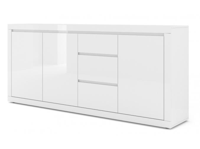 moderna biela leskla komoda COMO BIANCO 4 biely lesk