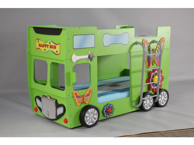Detská poschodová posteľ Happy Bus zelený