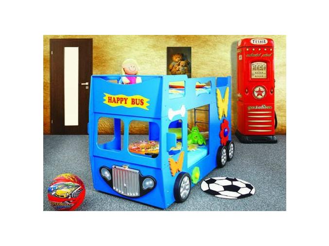 Detská poschodová posteľ Happy Bus modrý