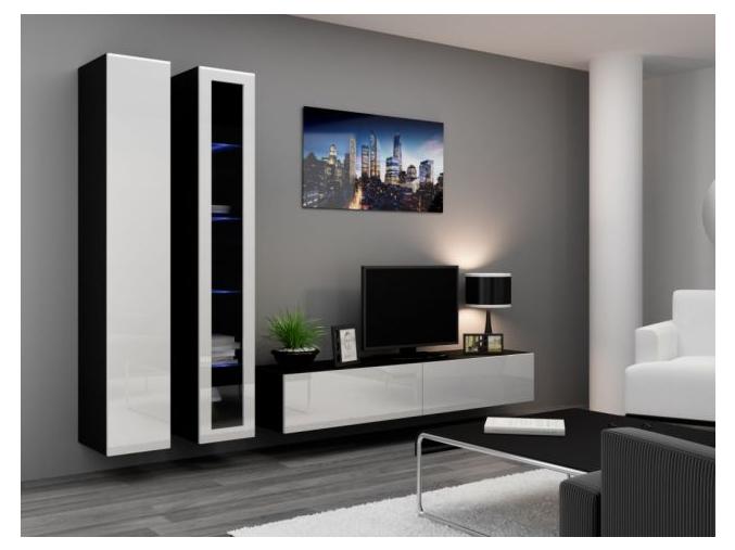 Obývacia stena Vigo III čierna-biela