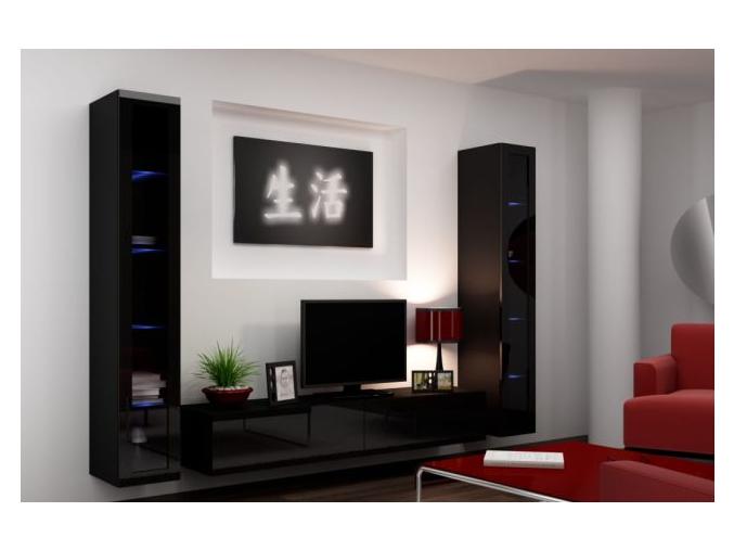 Obývacia stena Vigo V čierna-čierna