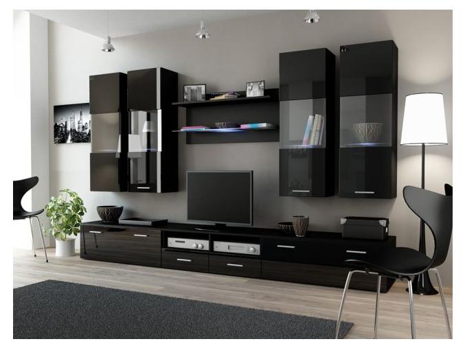 Obývacia stena Dream I čierna-čierny lesk