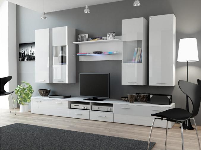 Obývacia stena Dream II biela-biely lesk