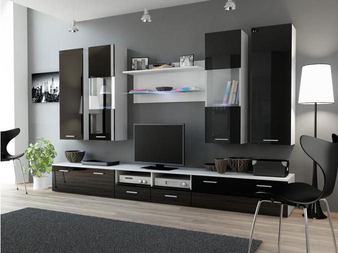 Obývacia stena Dream II biela-čierny lesk