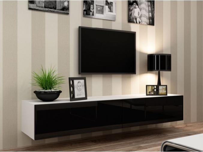 RTV stolík Vigo biely-čierny