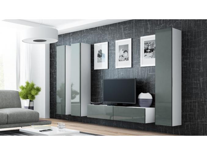 Obývacia stena VIGO 14 biela / sivá