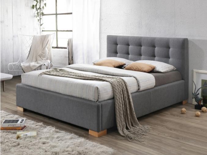 moderna siva manzelska postel s uloznym priestorom COPENHAGEN