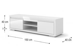 moderny biely TV stolik NORDIC BIANCO 03 biely lesk