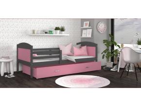 detska jednolozkova postel MATEUSZ P siva ruzova