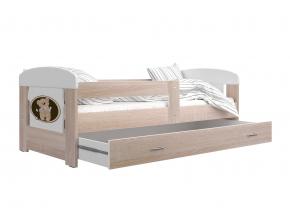 prakticka detska postel FILIP s matracom a rostom dub sonoma medvedik s kvetmi