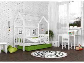 detska postel montessori domcek 2 bielo zelens